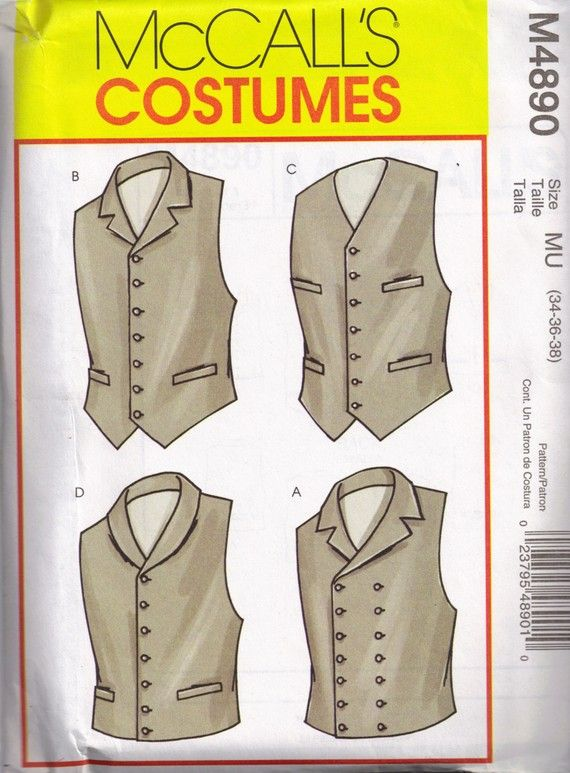 Historical Costume Mens Vest McCalls 4890 Sewing Pattern Size 34, 36 ...
