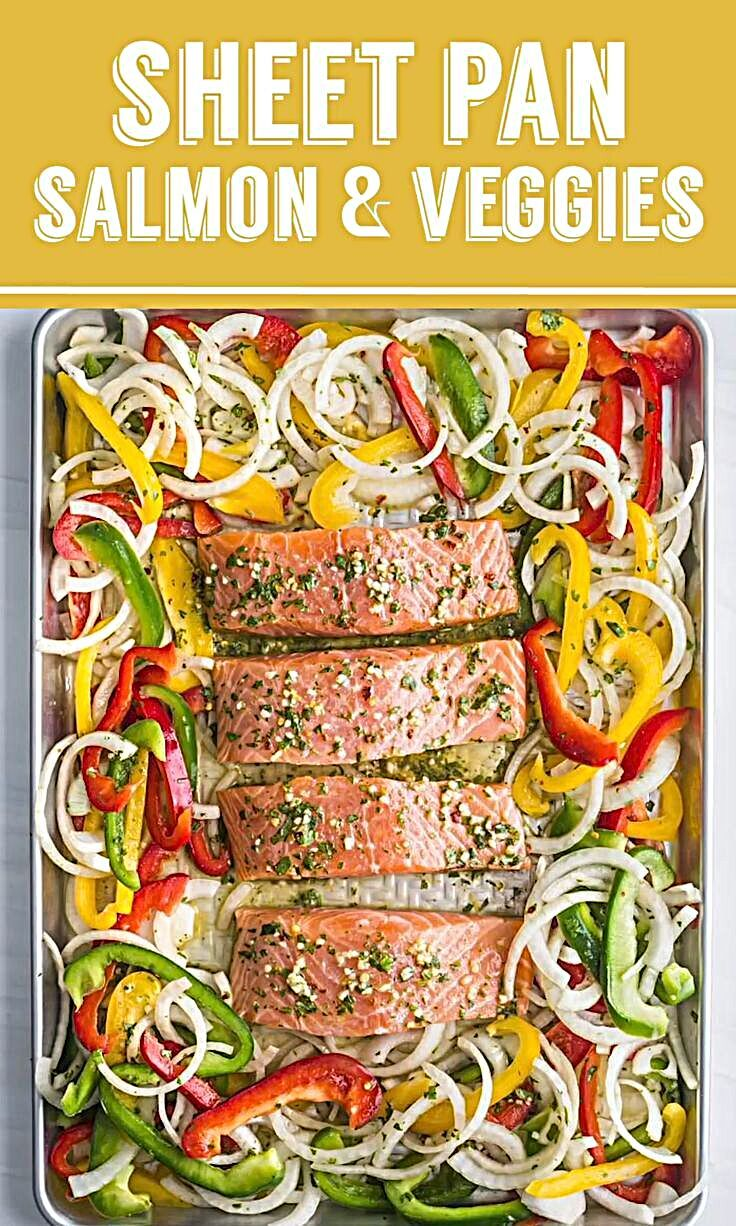 Sheet Pan Garlic Lime Salmon- this healthy sheet pan dinner is easy to make and a great weeknight me...