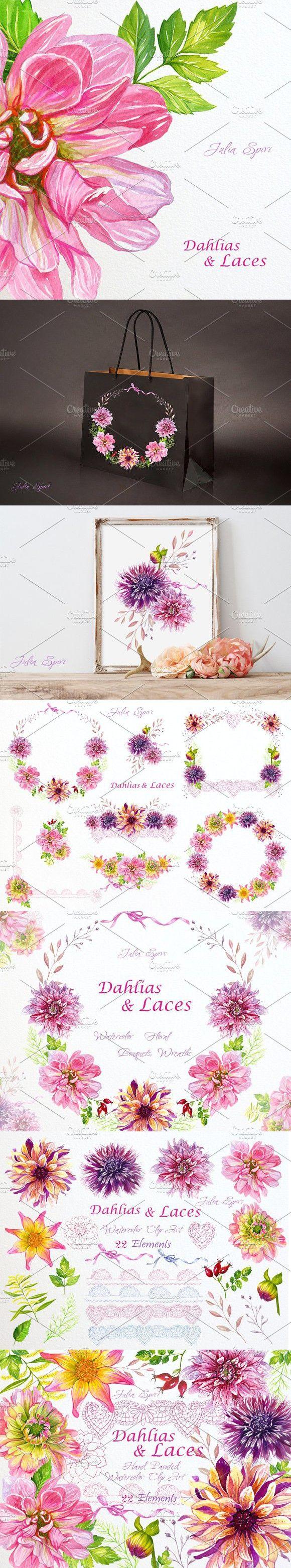 Watercolor Clip Art Dahlias u0026 Laces