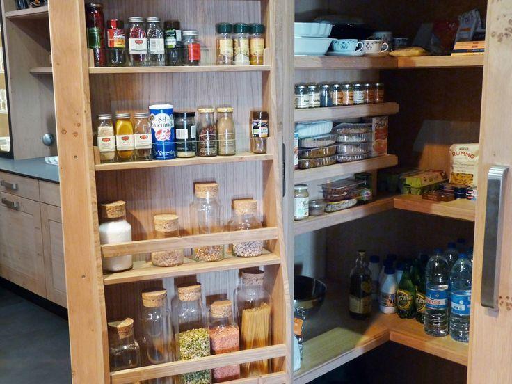 Atelier Culinaire , Cuisine Chêne Massif Clair, , Étagère, Cellier