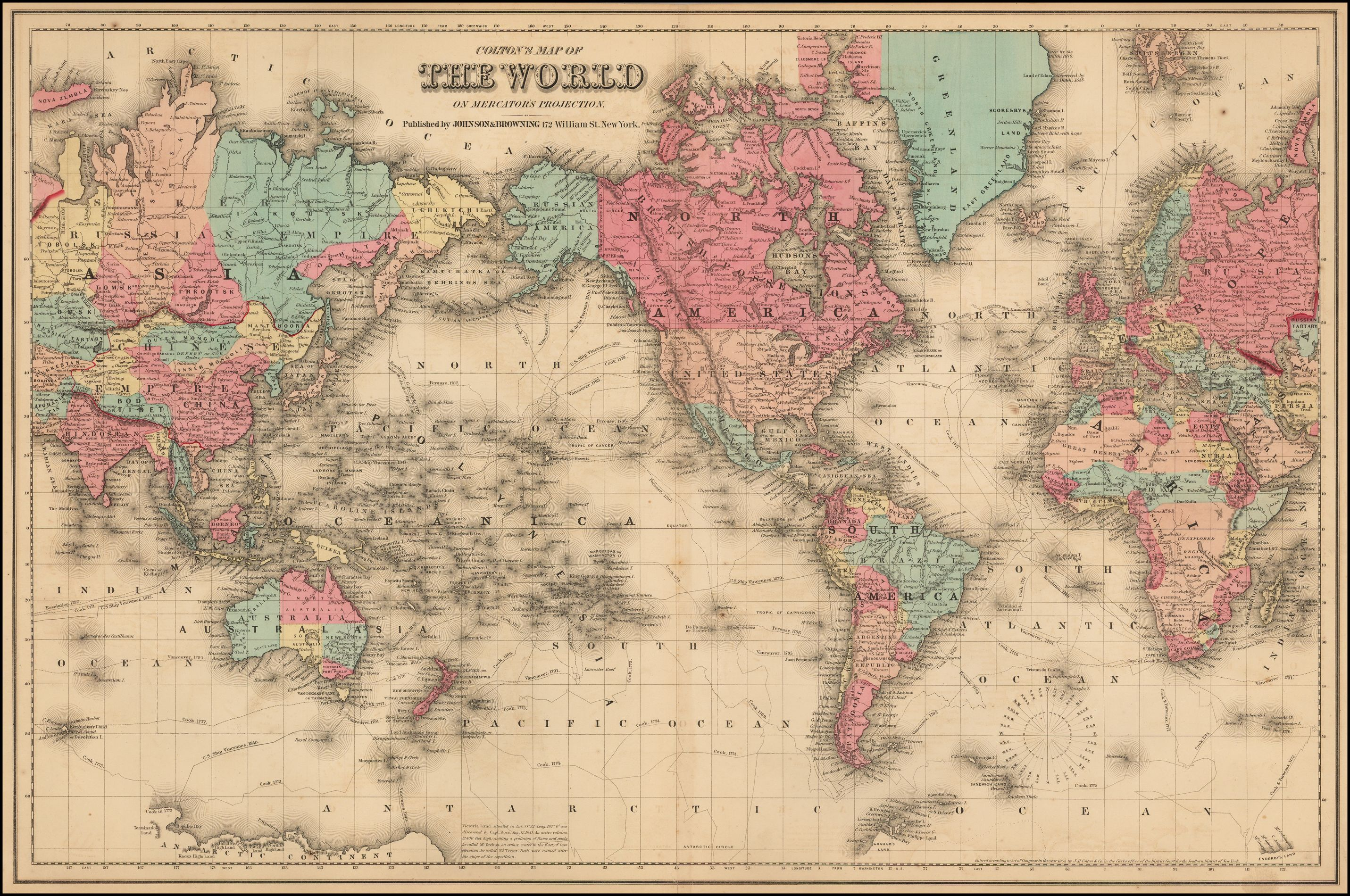 World map, ca. 1872