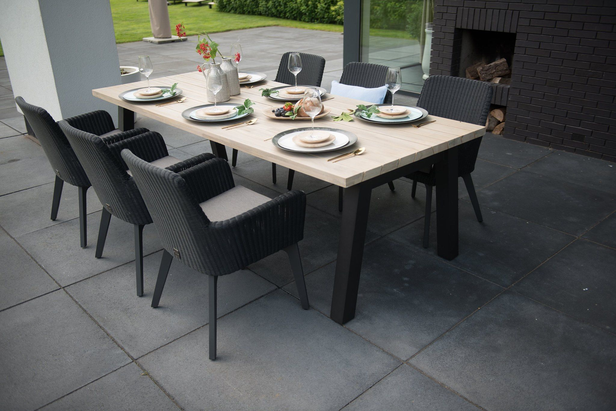 eb56c97855 Lisboa and Derby dining set, Teak and aluminium table with six dining chairs,  for prices and brochure visit our website at www.samuioutdoorfurniture.com  ...
