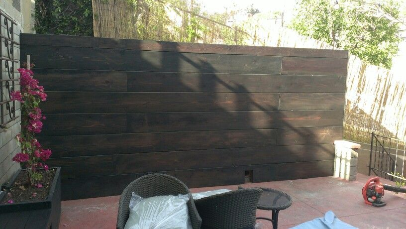 Stained Redwood Wall Facing A Old Cinder Block Custom Designed And Built By Theurbanfarmer Biz