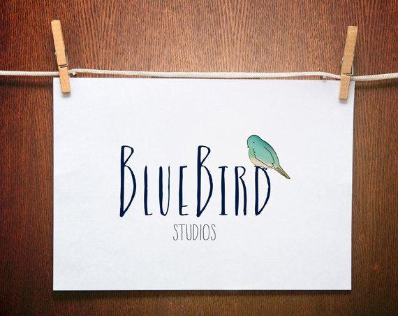 Hand drawn logo, whimsical Logo, bird logo design