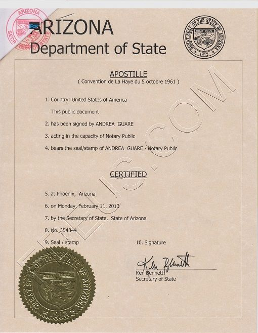 arizona apostille. arizona apostille certificate is a seal that will