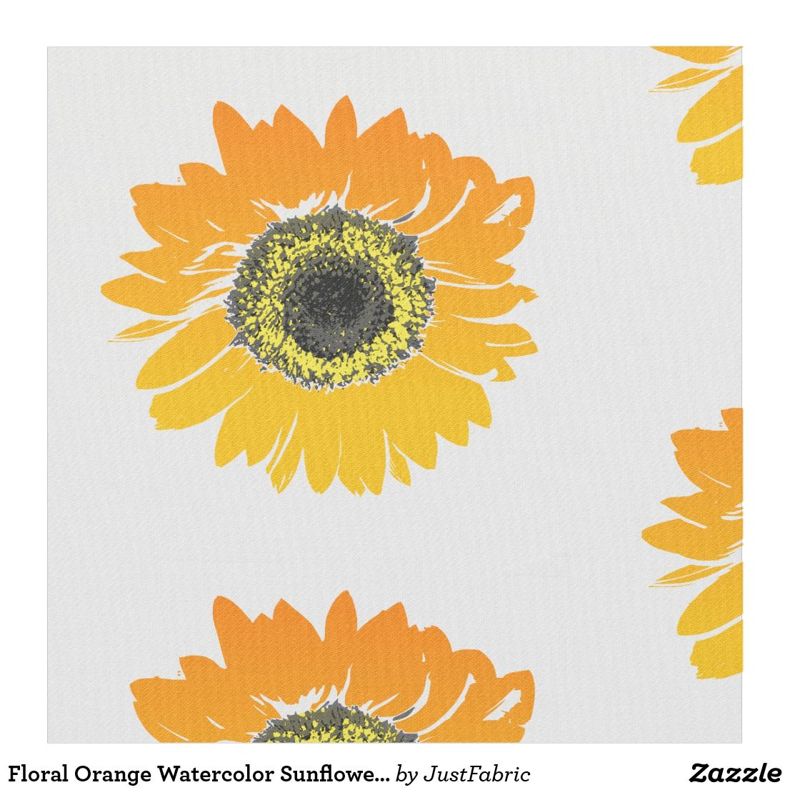 Floral Orange Watercolor Sunflowers Fabric Watercolor Sunflower