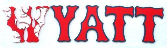 Red Baseball Sox Painted Letters Sox Nursery Letters Red Sox Newborn Decor Red Navy Painted Letters Sox Nursery Baseball Sox Photo Prop