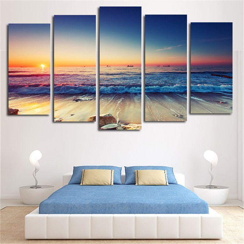 5 Panel HD Printed Canvas Painting Sunset Seascape Canvas Print Art Modern  Home Decor Wall Art