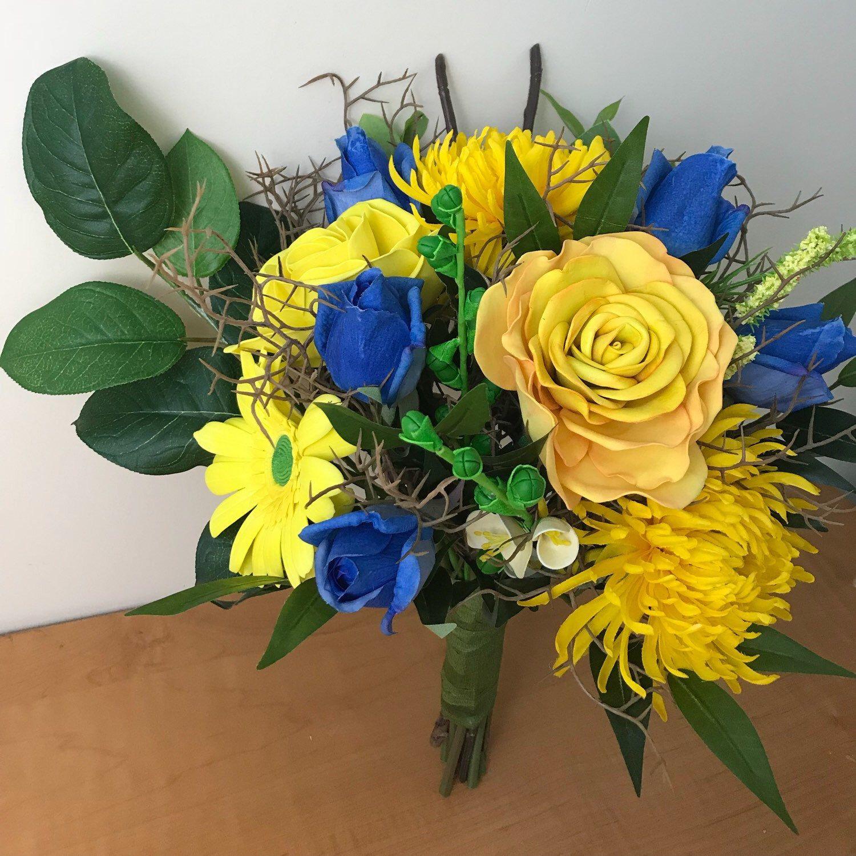 Boda bouquet blue and yellow artificial bouque ramo de novia azul bridal bouquet blue and yellow flowers bouquet for wedding wedding accessory artificial izmirmasajfo