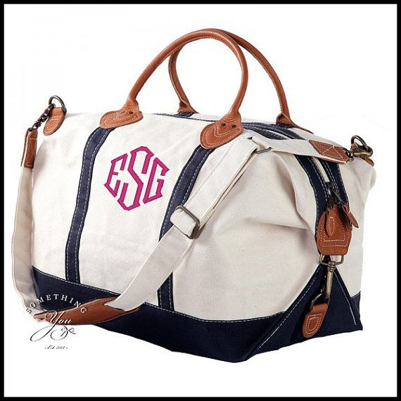 Monogrammed Leather and Navy Blue Natural Canvas Weekender Bag - Personalized  Travel Luggage 4d83b5ae3b849