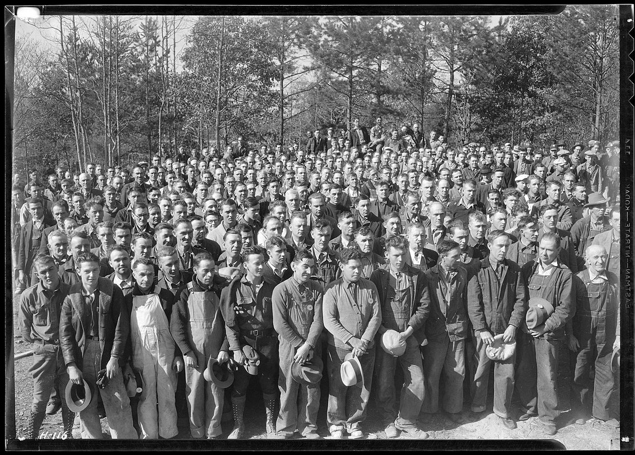 From Wikiwand: A group of workers at Norris Dam construction camp site. The TVA was formed as part of Roosevelt's New Deal legislation.