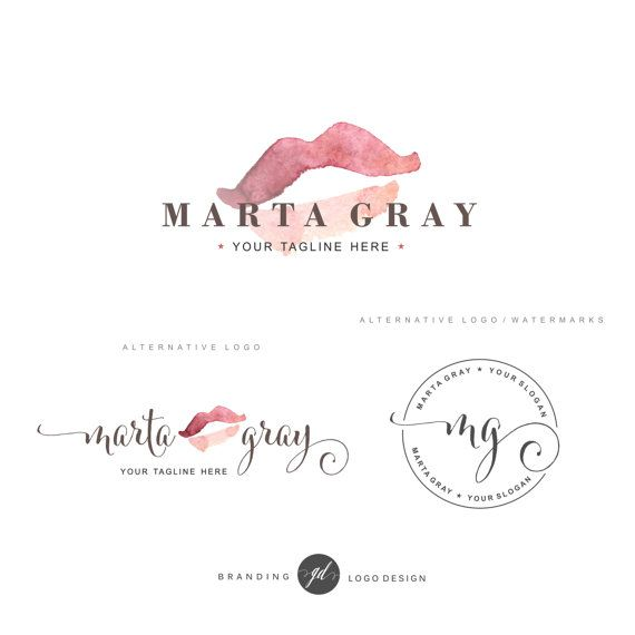 cosmetic logo design lips logo premade branding kit