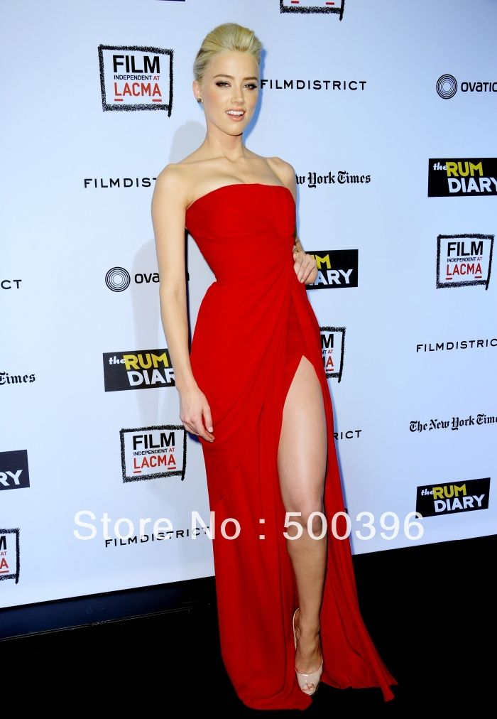 Celebrity Style Red Chiffon High Slit Prom Dresses 2014 Simple ...