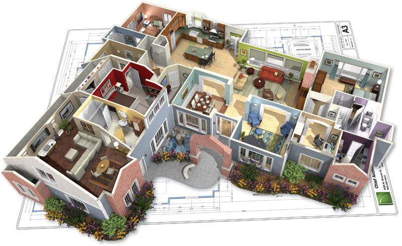 Maquetas de casa modernas por dentro buscar con google for Planos de casas modernas en 3d
