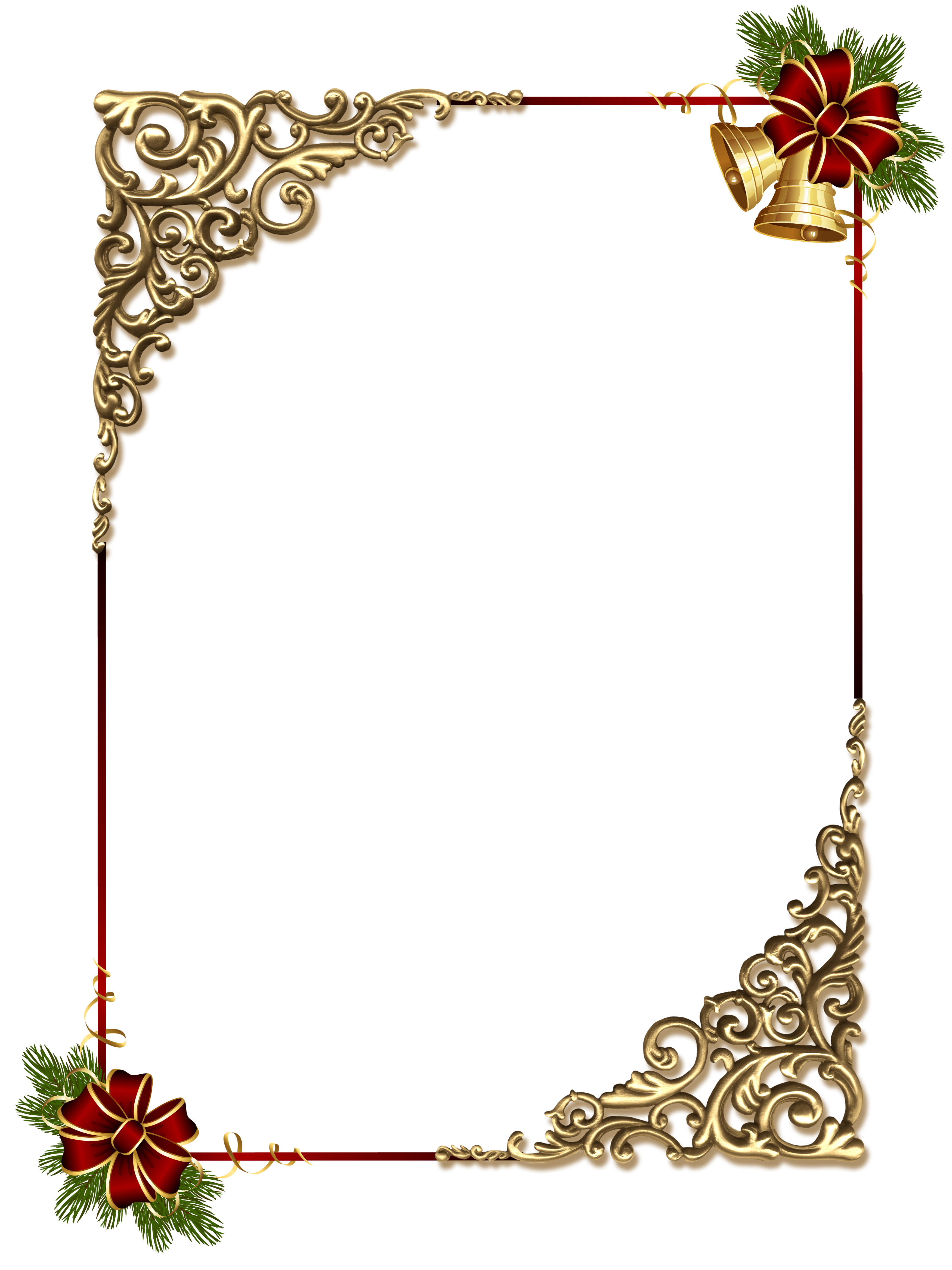 Christmas Gold PNG Photo Frame with Red Bow Gallery