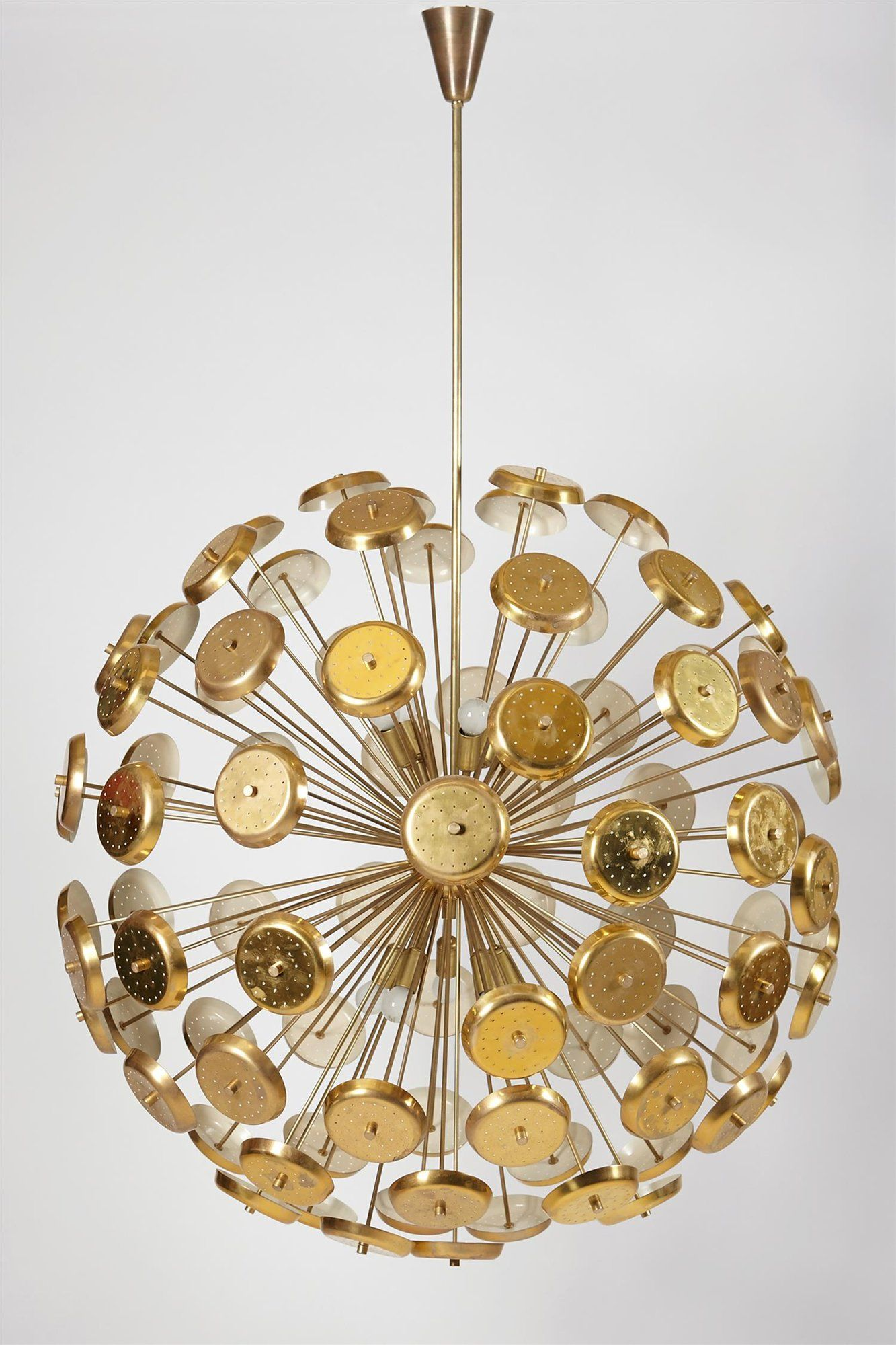 Anonymous; Lacquered and Polished Brass Ceiling Light, 1950s.