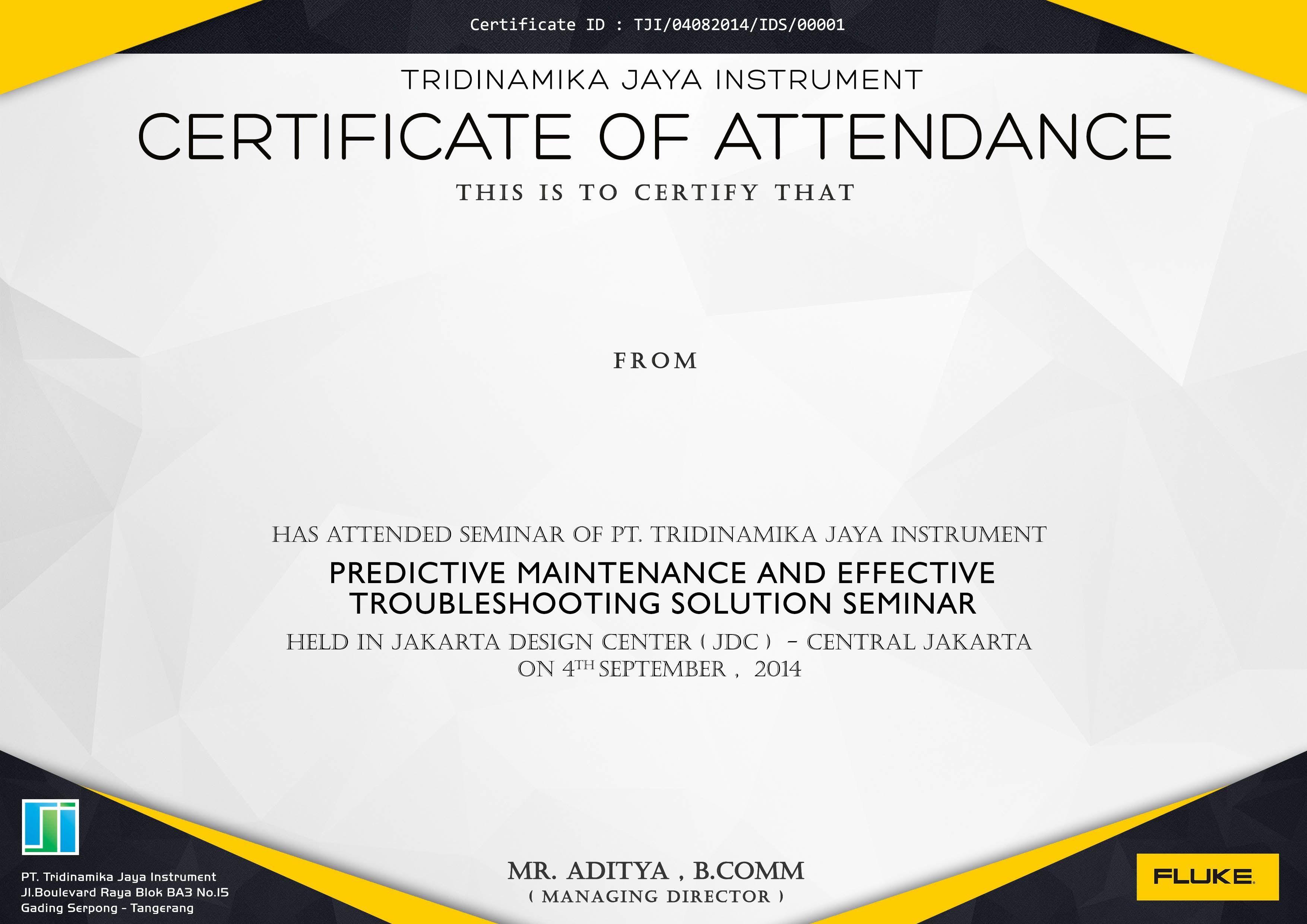 Fluke Seminar Certificate Design Inspiration