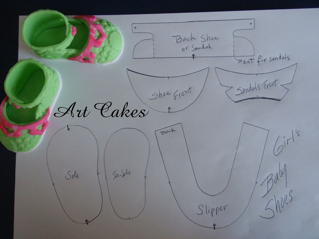 Baby Shoes Template | Art cakes, Baby cookies and Cake