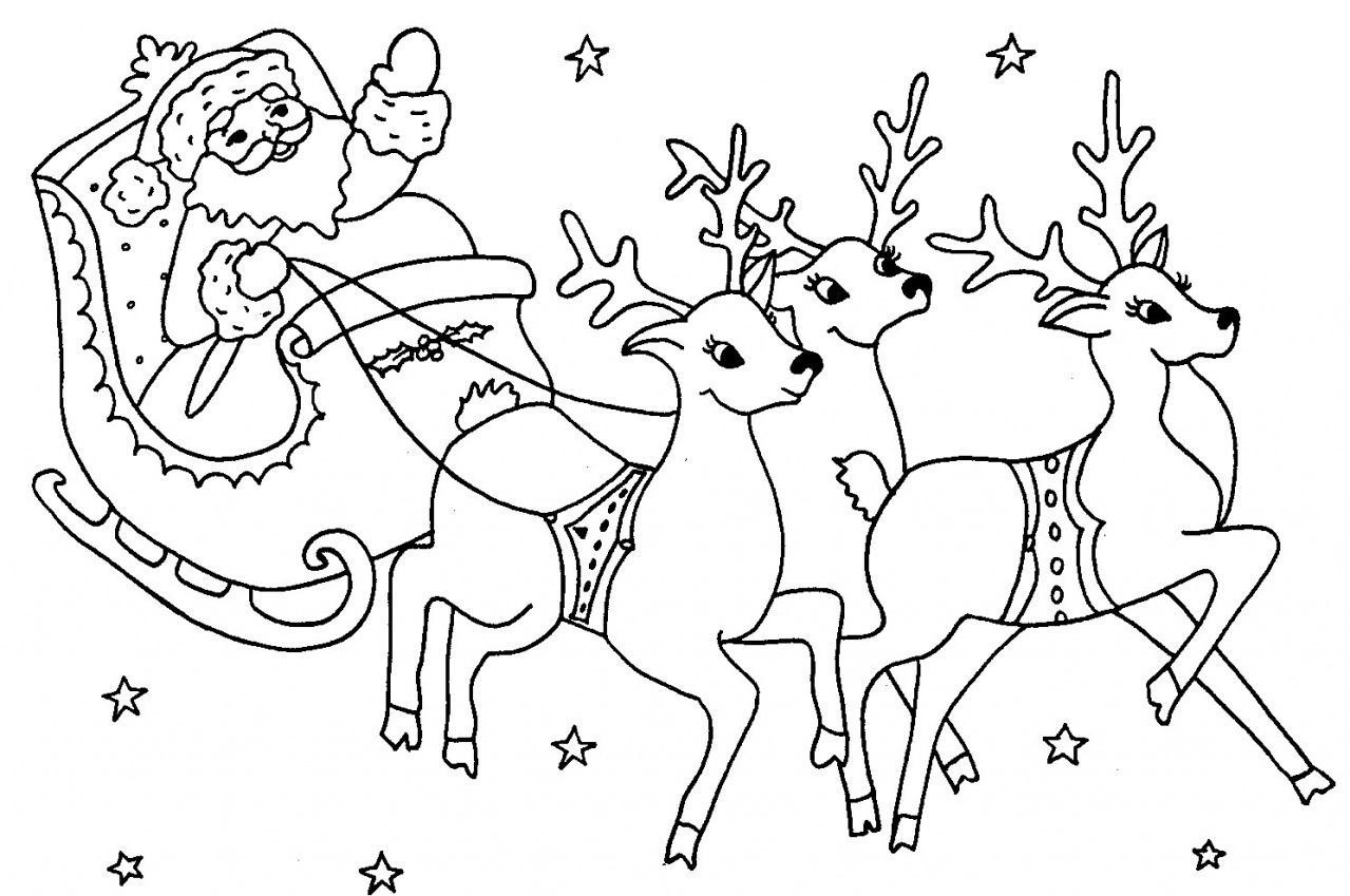 dessin père noel et rennes (2) | Dessin pere noel, Coloriage noel