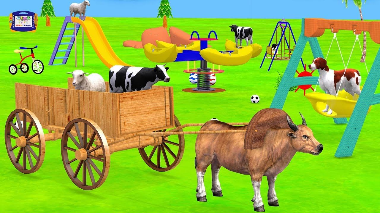 Farm Animals Go To Playground On Bullock Cart Toy For Kids Cartoon Animals Videos Cartoon Animals Cartoon Kids Animal Gifs