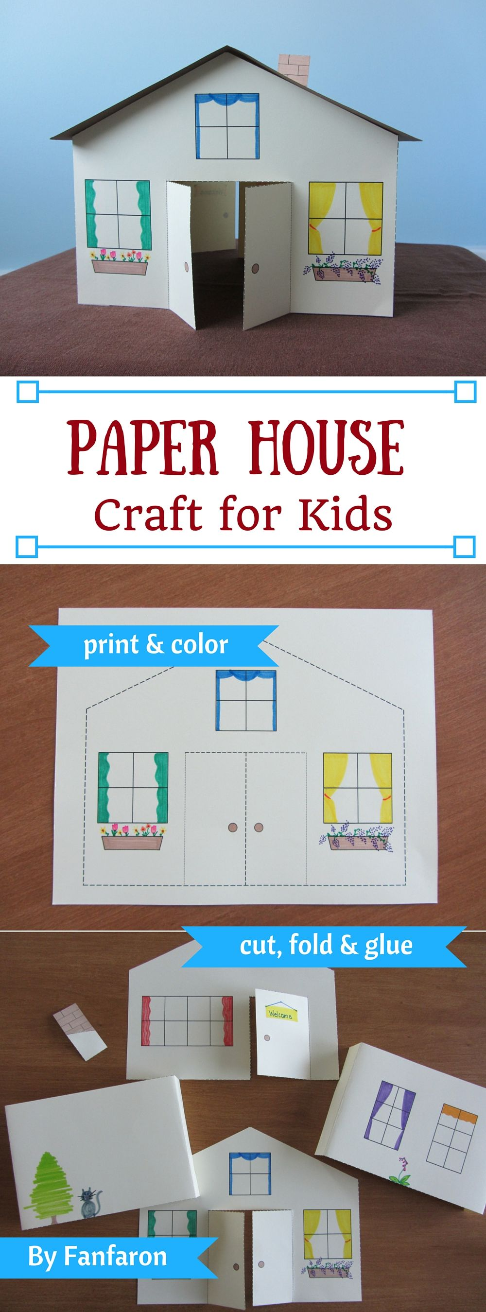 3D Paper House Craft for Kids  Instant Download Template. Fun Crafts For Your Home. Home Design Ideas
