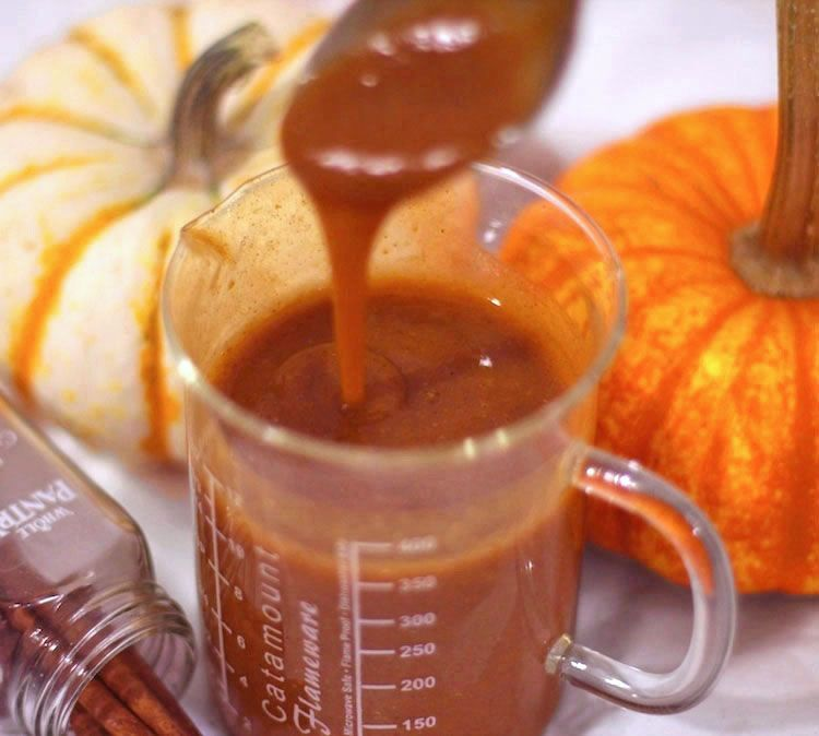 Healthy butterscotch pumpkin spice syrup desserts with