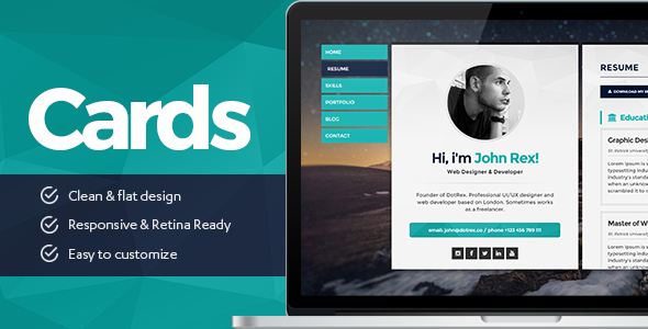 buy cards personal vcard resumecv portfolio wordpress theme by template_path on themeforest cards is a modern exclusive and flat theme. Resume Example. Resume CV Cover Letter