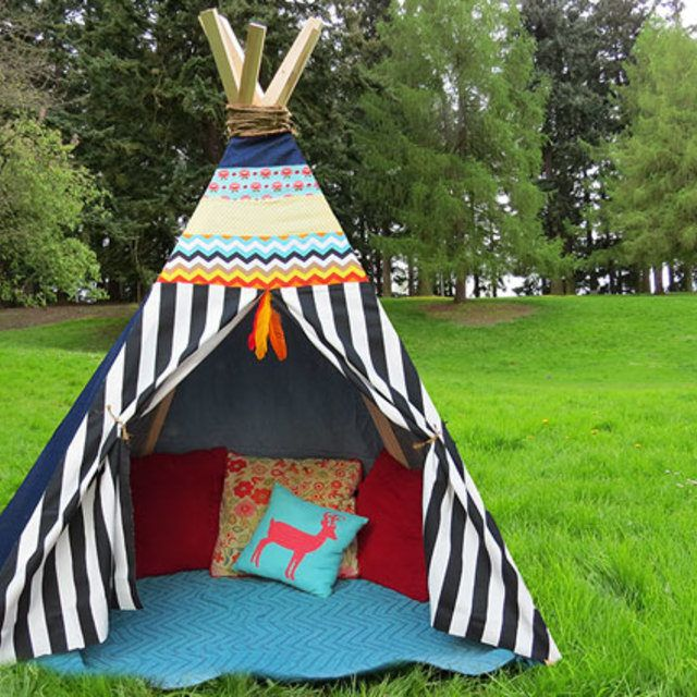 Make a teepee with fabric scraps or old clothing-no sew project