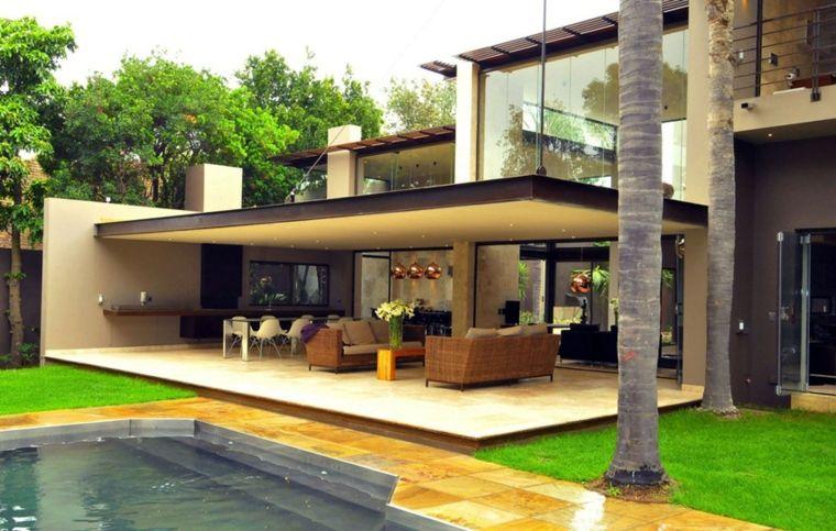 Porches jardin y terrazas cubiertas 50 dise os for Diseno terrazas modernas
