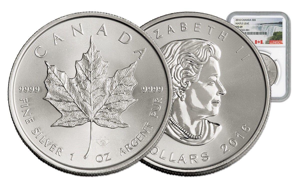 2016 canada 5 dollar 1oz silver maple leaf ngc ms69