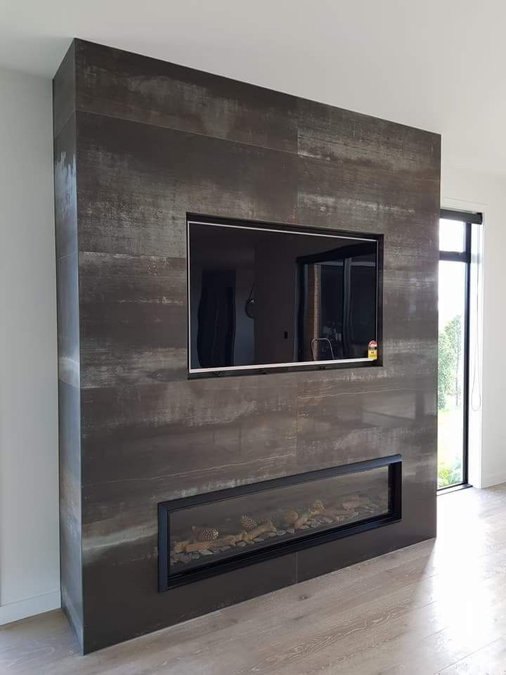 Tile Corten Steel 600x1200mm, Metallic Tile Fireplace