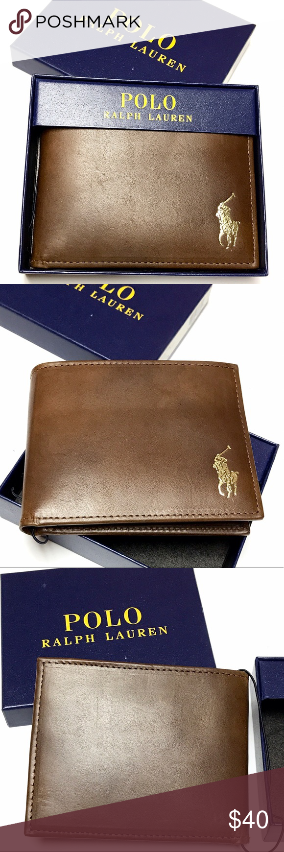 NIB - Men s POLO Wallet Men s Authentic Ralph Lauren POLO Leather Wallet •  Bi-fold • 3 card slots • 2 bill slots • Removable insert with 2 clear ID  windows ... bf07995e819