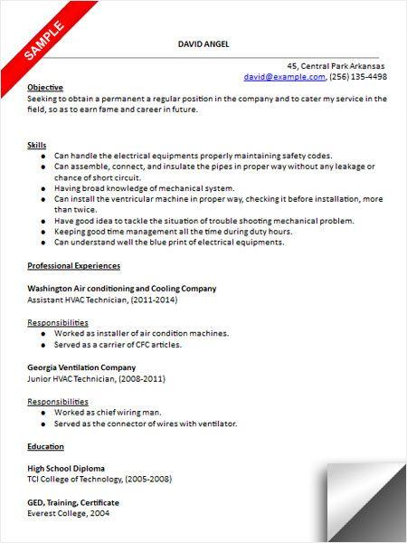 HVAC Technician Resume Sample Resume Examples Sample