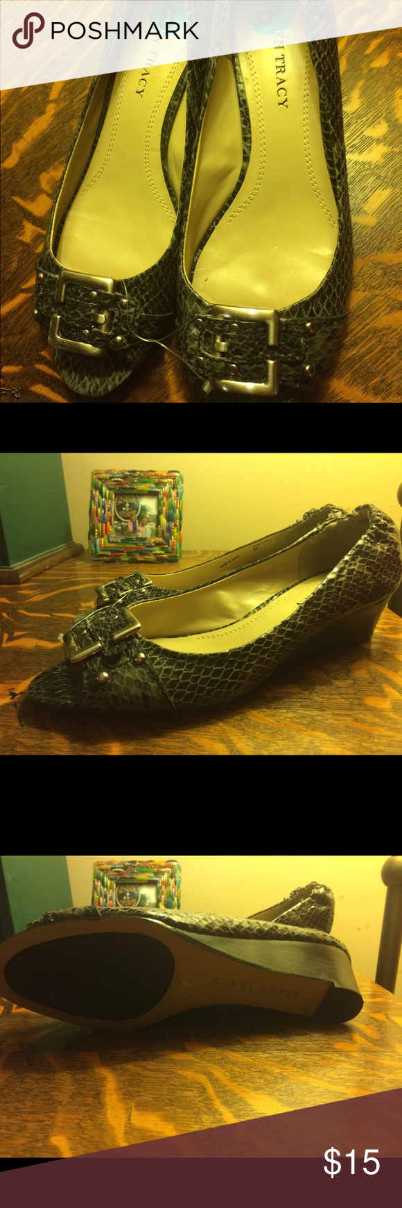 NWOT Ellen Tracy size 8 faux snakeskin wedges NWOT  Ellen Tracy faux snakeskin wedges with a one and a half inch heel and very cool silver buckle in the front Ellen Tracy Shoes Wedges