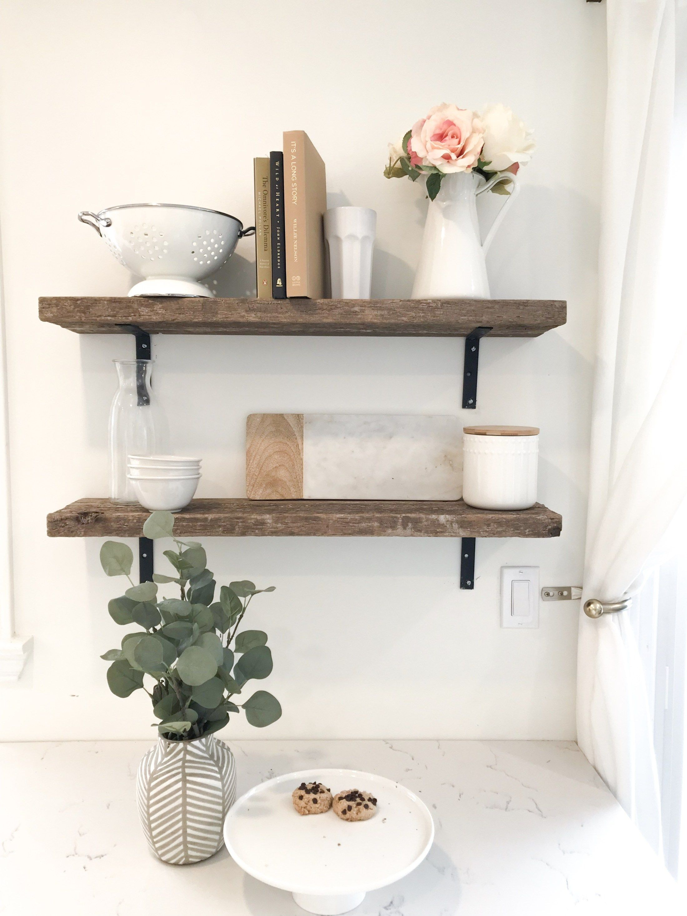 DIY Rustic Open Farmhouse Shelves (With images) Kitchen