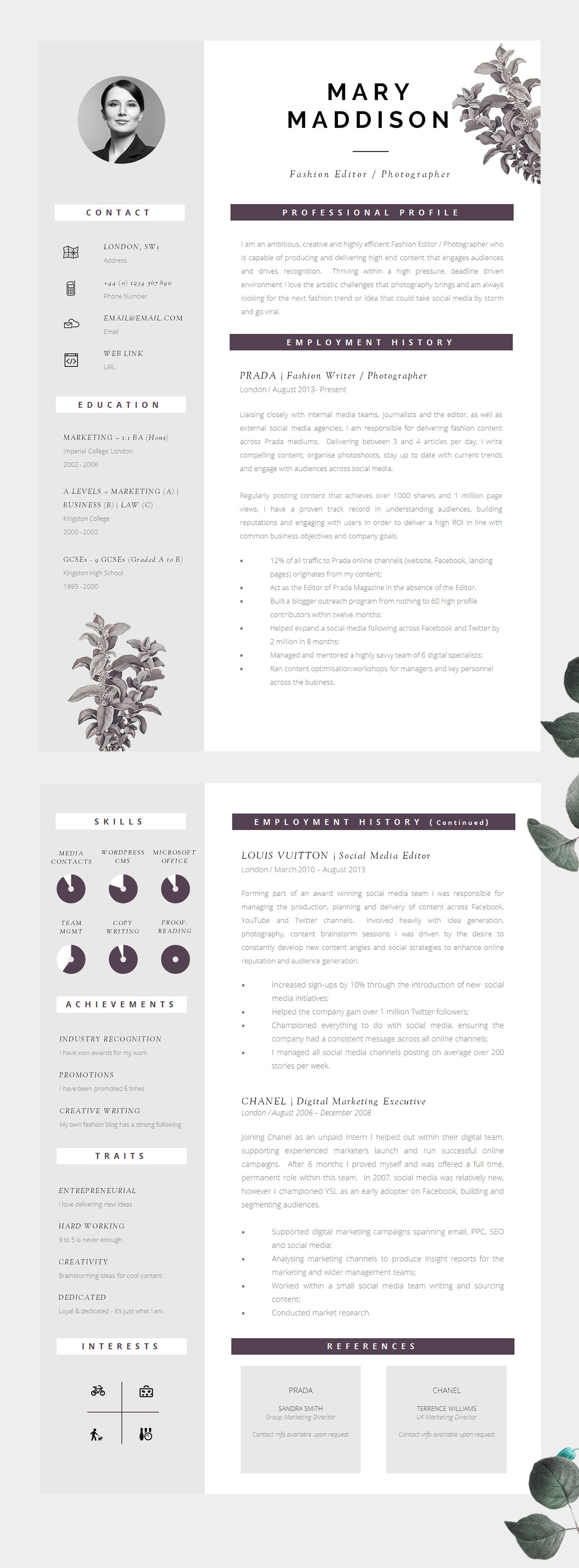 Resume Template | Two Page Resume + Cover Letter + Advice ...