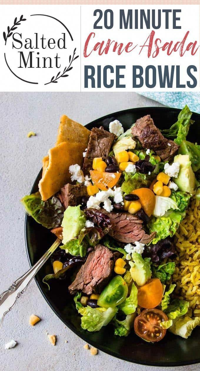 These easy grilled carne asada bowls are the perfect healthy weeknight dinner. A quick marinade for tender juicy beef, (skirt steak is perfect here) and these bowls are pretty much ready to go. Skip the rice to keep the whole dinner keto friendly and make weeknight dinners simple and healthy. #dinner #cleaneating #Mexican #QuickHealthyDinner #marinadeforskirtsteak These easy grilled carne asada bowls are the perfect healthy weeknight dinner. A quick marinade for tender juicy beef, (skirt steak i #marinadeforskirtsteak