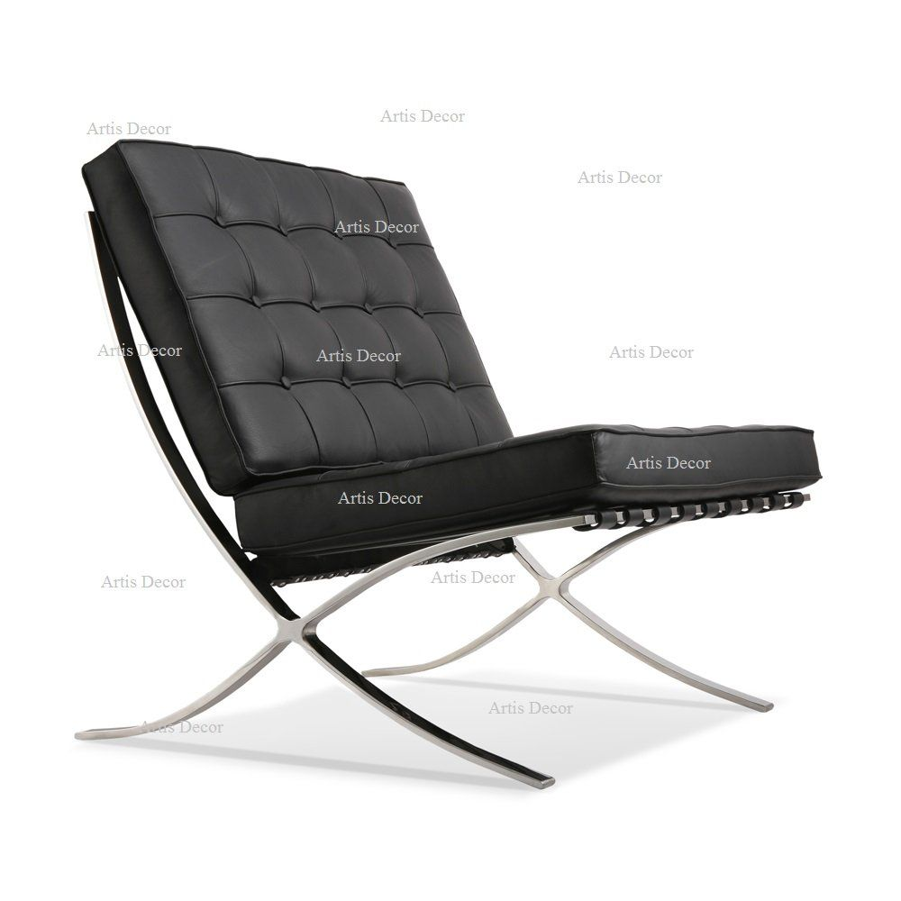 ArtisDecor Premium Lounge Chair in Leather (Black, Chair Only)