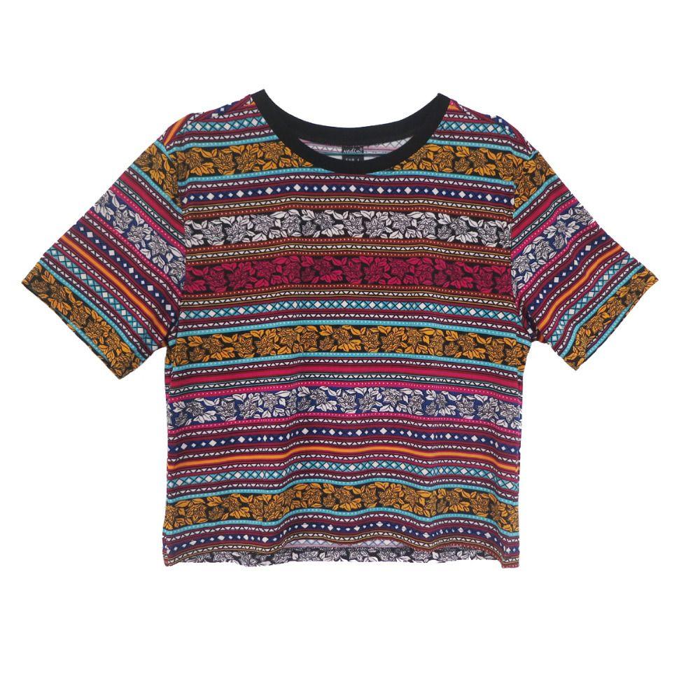 Mulheres vintage totem stried Cropped T camisa Retro Tribal colheita de  manga curta camiseta casual Blusas Femininas europeia tops DT72 em Camisetas  de ... ab8b03e81ba1e