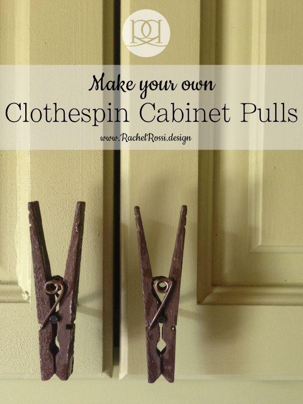 DIY Clothespin Cabinet Pulls