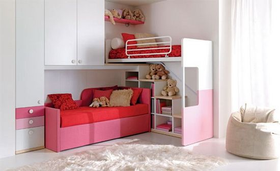 Fantastic Kids Bedroom Furniture For Small Rooms Bunk Bed Minimalist Design  With Wardrobe And Storage Shelf