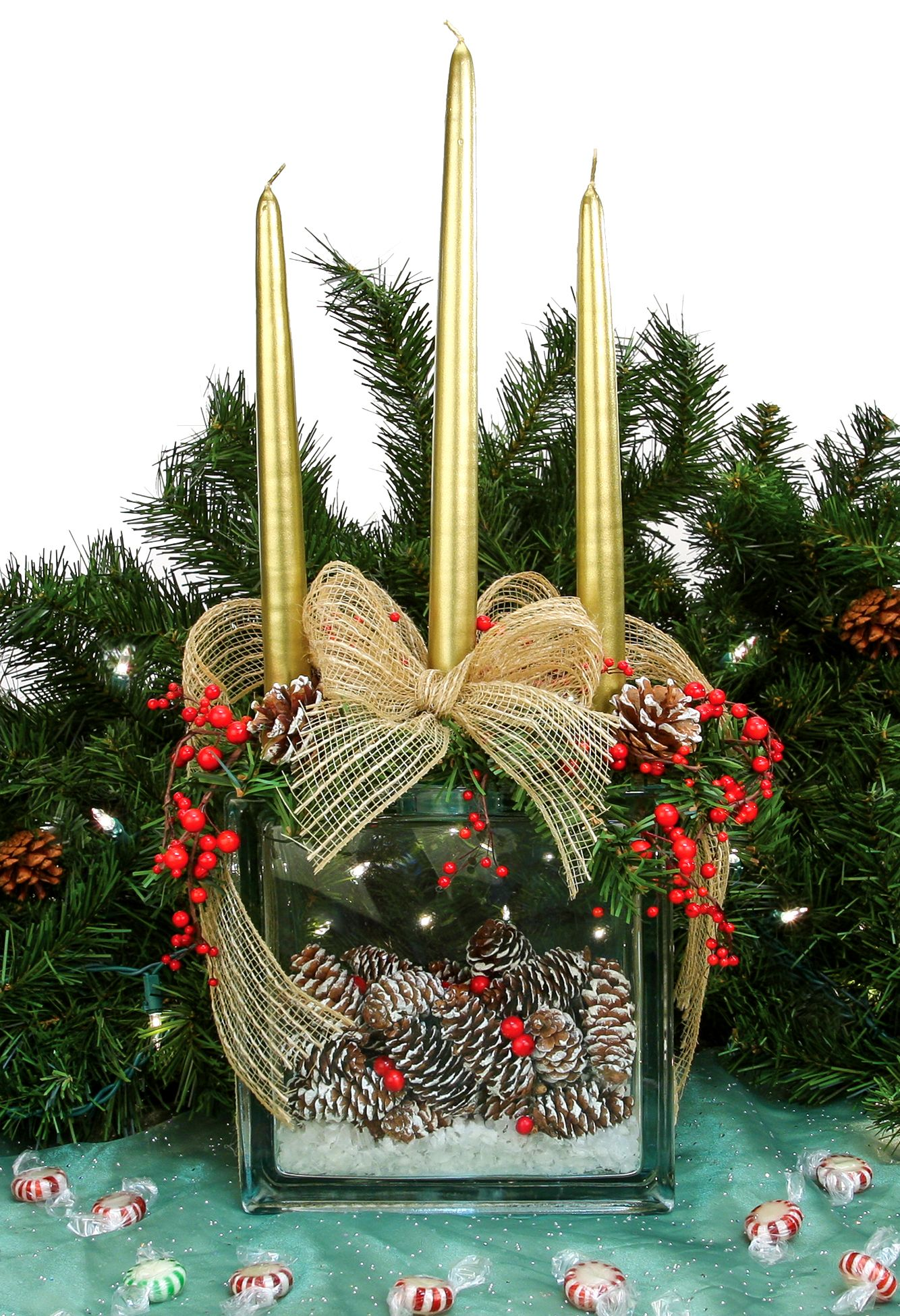 Nicole™ crafts holiday pine cone glass block centerpiece