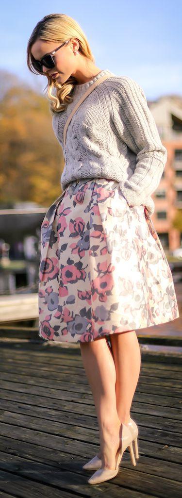 Nude Multi Floral Full Knee-length Skirt
