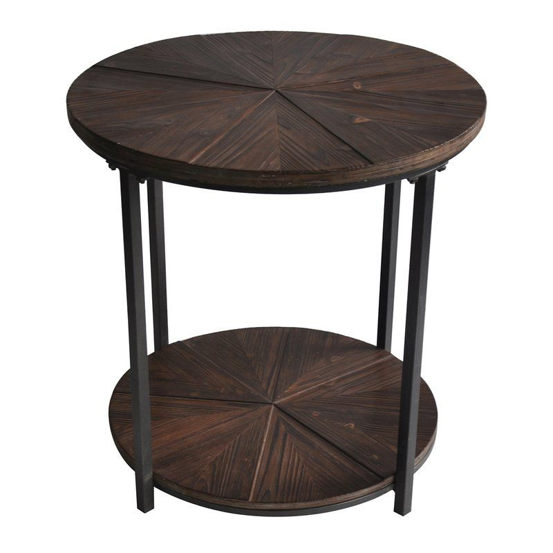 Dalton Gardens Round Metal And Rustic Wood End Table Wood End