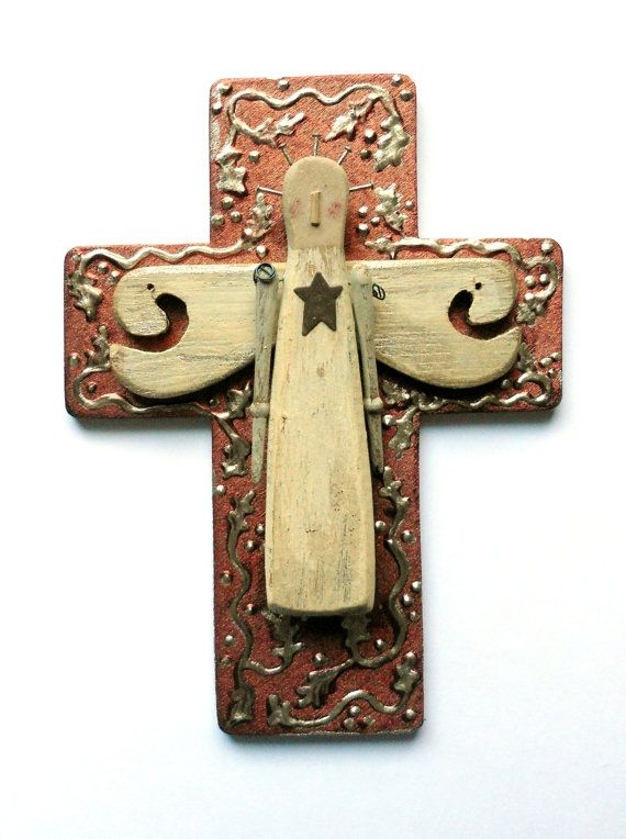 Christmas angel wall cross found objects mixed media religious art ...