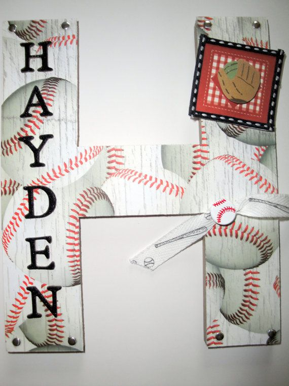 Sports Baseball 3D Custom Wall Letter Nursery Kids Room Decor Single