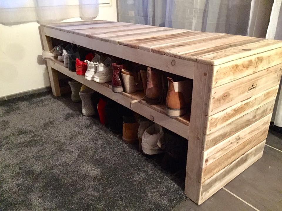 fabriquer un banc en palette pour ranger les chaussures palette pinterest les chaussures. Black Bedroom Furniture Sets. Home Design Ideas
