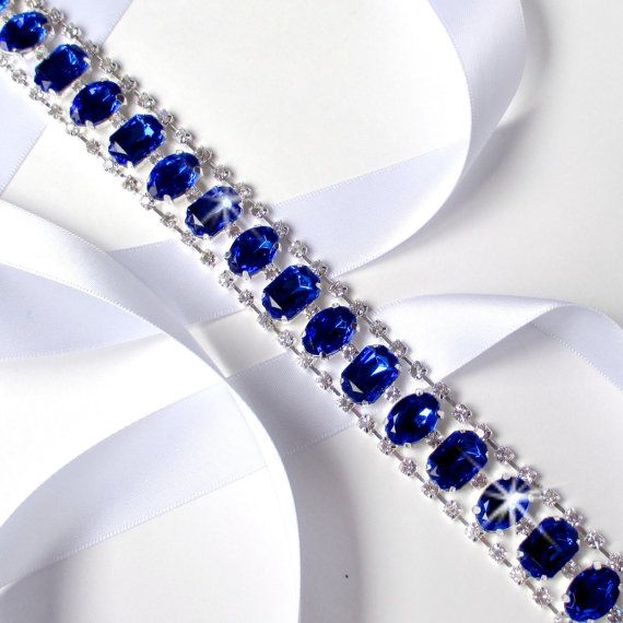 Reserved for suzanne statement royal blue rhinestone for Blue sash for wedding dress