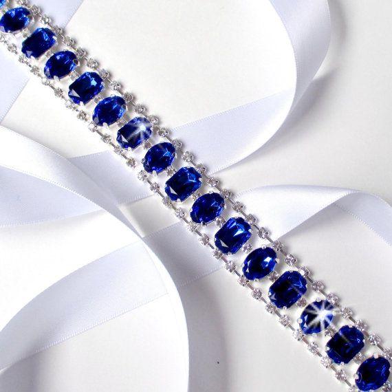 Bridal Wedding Bridesmaid Dress Crystal Pearl Sash Royal Blue Ribbon Belt