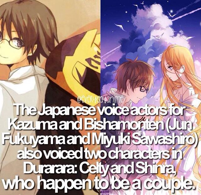 Anime facts seiyuu (With images) Anime life, Durarara